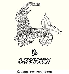 Capricorn - Line art design of Capricorn zodiac sign for...