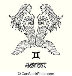 Gemini - Line art design of Gemini zodiac sign for design...