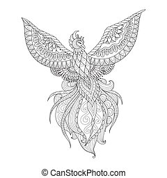 Phoenix - Line art design of Phoenix bird for T - shirt...