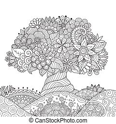 Line art drawing of Abstract tree on beautiful floral ground for printed product, design element and adult coloring book page. Vector illustration