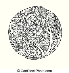 cabbage - Line art drawing of cabbage for printing on stuffs...