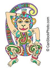 line art drawing of ethnic monkey in decorative ukrainian...