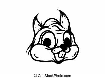 Line art drawing of rabbit head