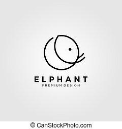 line art elephant logo vector illustration design