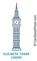 Line art Elizabeth Tower, Big Ben, symbol of London, England