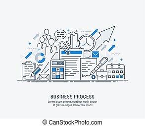 line-art, empresa / negocio, plano, ilustración, proceso