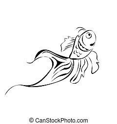Line art fish, isolated over white background