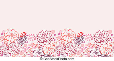 Line art flowers horizontal seamless pattern background border