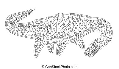 Beautiful monochrome linear illustration for coloring book page with plesiosaur silhouette isolated on the white background