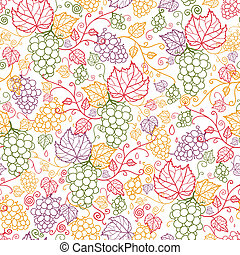 Vector line art grape vines seamless pattern background with hand drawn fruit and leaves.