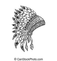 Line art hand drawing native american Indian chief headdress