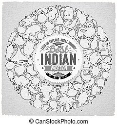 set of Indian cartoon doodle objects