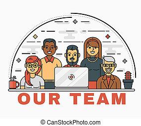 line art illustration of a business team