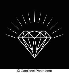Line art illustration of a diamond on black background