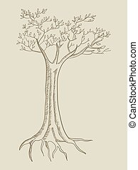 Line art illustration of a tree