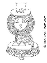 line art illustration of circus theme - lion in a hat