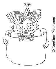 line art illustration of circus theme - clown with frame for you
