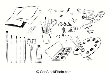 Line art illustration set of artists supplies