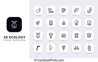 Line art incomplete ecology icon pack.