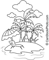 Line Art Isle - Line Art Illustration of a Small Isle with a...