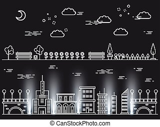 Line art landscapes concepts on black background