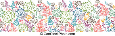 Line Art Leaves Horizontal Seamless Pattern Background Border