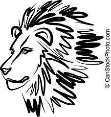 line art lion vector illustration