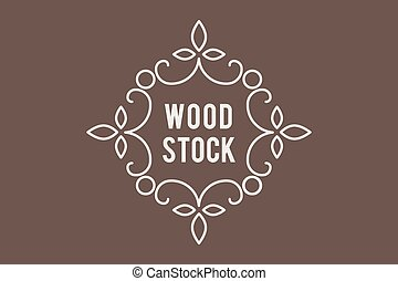 Line art logo template for shop of wooden products. Vector...