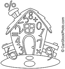 Line Art Illustration of a House Covered with Numbers and Mathematical Symbols