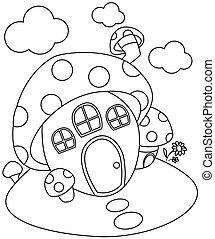 Line Art Mushroom House