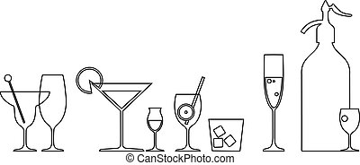 Line art of a bar with cocktails