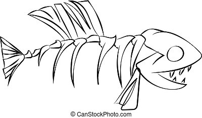 Line art of a fish skeleton vector or color illustration