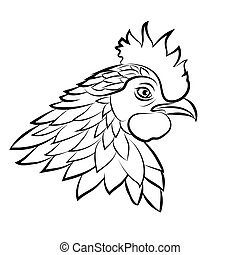 Line art of cock on white background