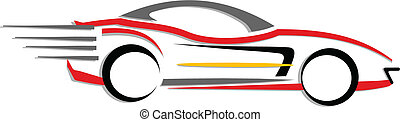 Line art of sports car - Vector illustration of fast moving...