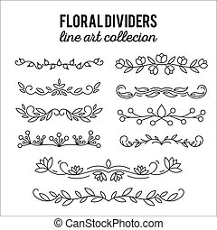 Line art ornaments. Flourishes. Dividers set floral decoration. Ornamental decorative elements