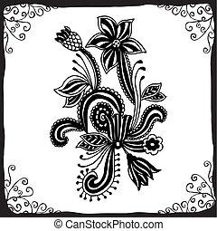 Line art ornate flower