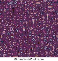 Line art outline seamless pattern color elements