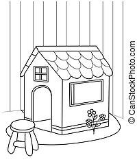 Line Art Illustration of a Playhouse