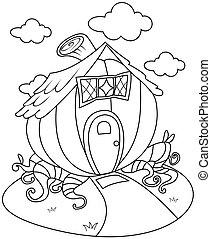 Line Art Pumpkin House - Line Art Illustration of a...