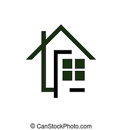 line art Realty logo design vector symbol illustration