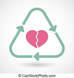 Line art recycle sign icon with a broken heart