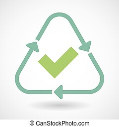 Line art recycle sign icon with a check mark