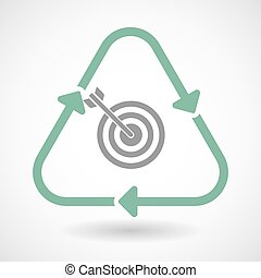 Line art recycle sign icon with a dart board