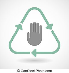 Line art recycle sign icon with a hand