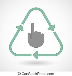 Line art recycle sign icon with a pointing hand