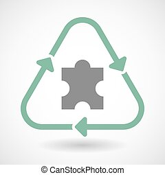 Line art recycle sign icon with a puzzle piece