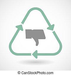Line art recycle sign icon with a thumb down hand