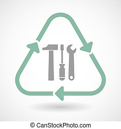 Line art recycle sign icon with a tool set