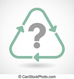 Line art recycle sign icon with a question sign