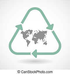 Line art recycle sign icon with a world map